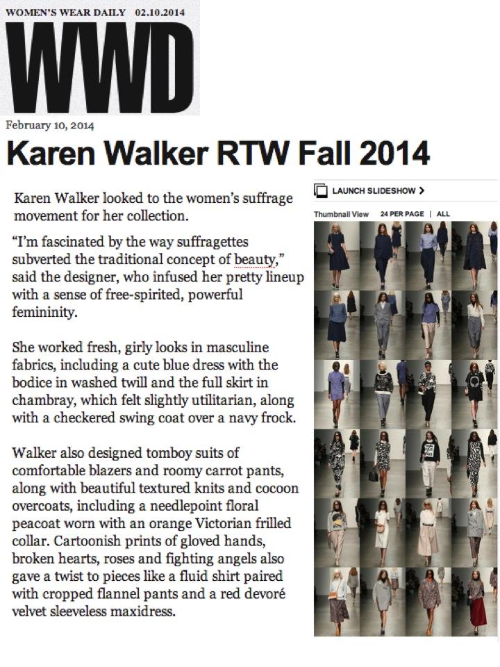Karen Walker RTW Fall 2014 Featured on WWD